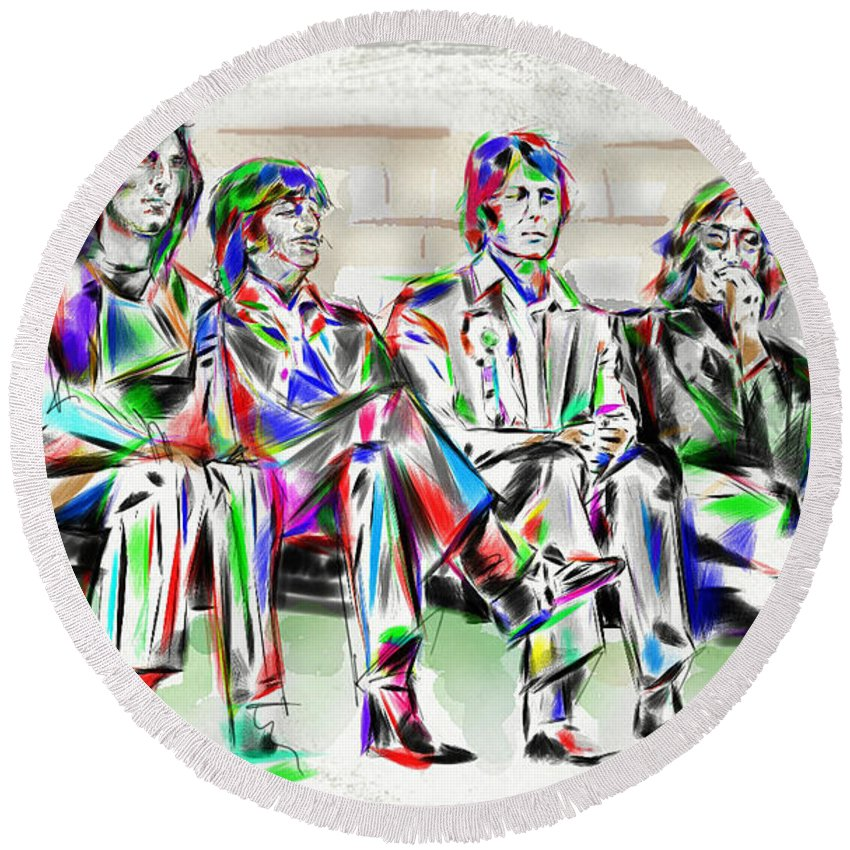 The Beatles Round Beach Towel featuring the mixed media Beatle Love by Mark Tonelli