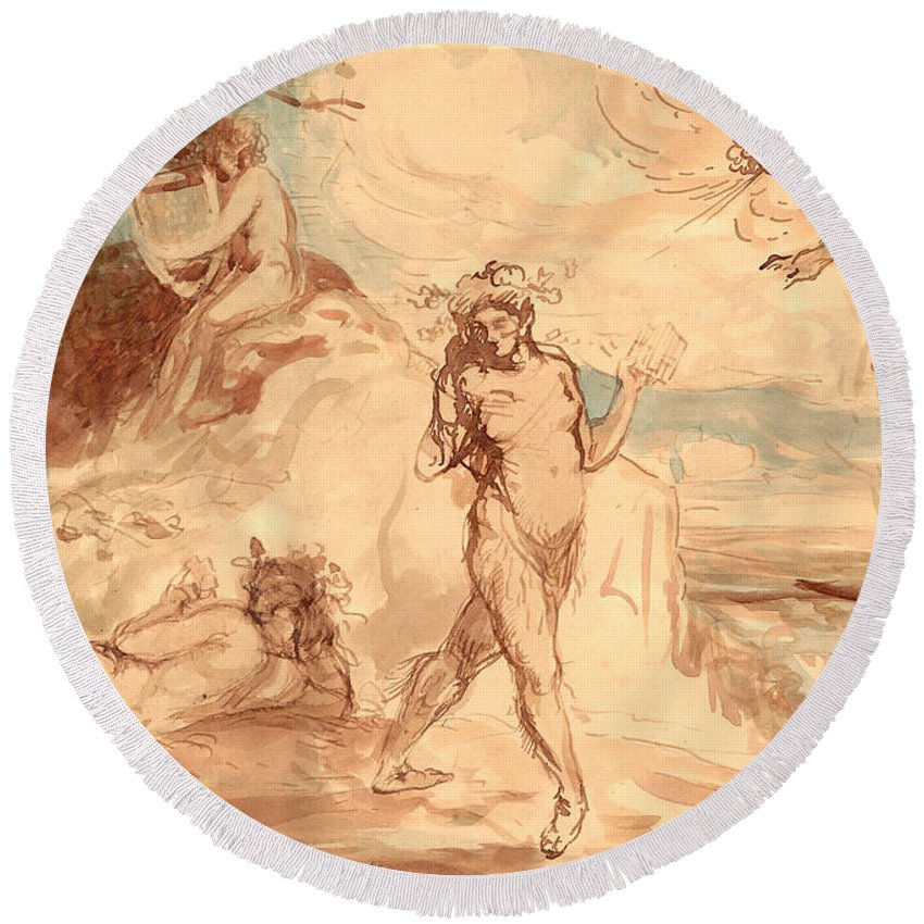 Charles Round Beach Towel featuring the painting Allegorical Subject by Charles Conder