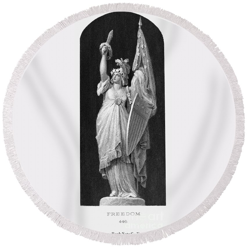 1870 Round Beach Towel featuring the photograph Allegory: Columbia, 1870 by Granger