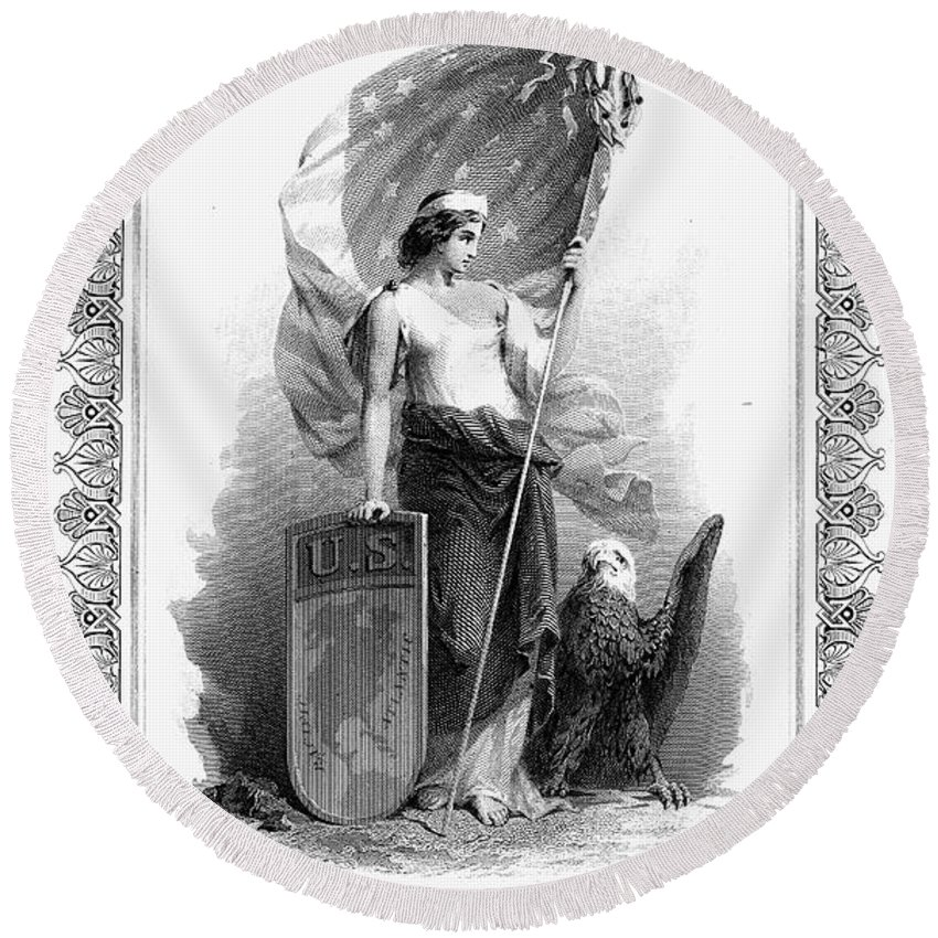 1870 Round Beach Towel featuring the photograph Allegory: Columbia, C1870 by Granger