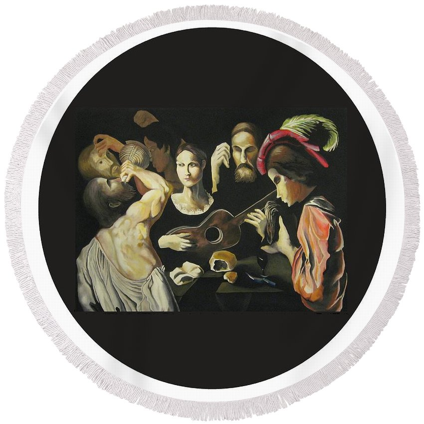 Round Beach Towel featuring the painting Allegory Of The 5 Senses by Ronnie Lee