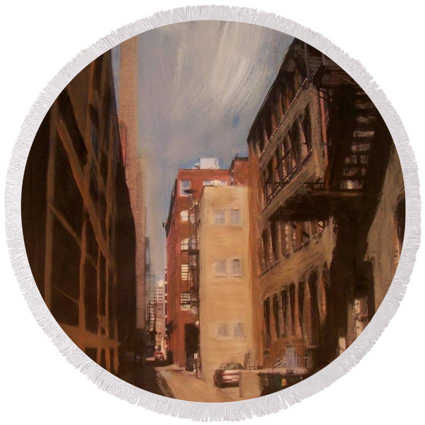 Alley Round Beach Towel featuring the mixed media Alley Series 1 by Anita Burgermeister