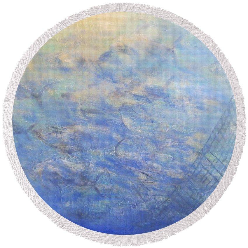 Tuna Round Beach Towel featuring the painting Almadraba by Francisco Guijar Cubero