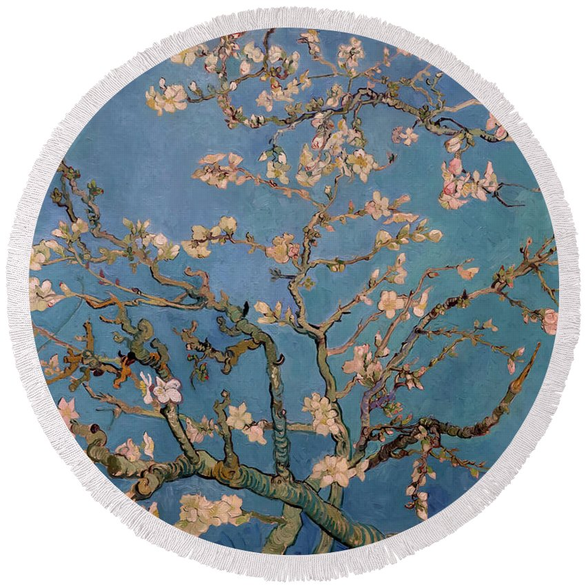 1890 Round Beach Towel featuring the photograph Almond Blossom by Vincent van Gogh