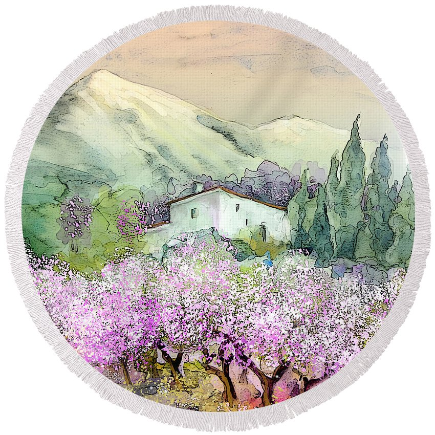 Travel Round Beach Towel featuring the painting Almond Trees In Altea La Vieja by Miki De Goodaboom