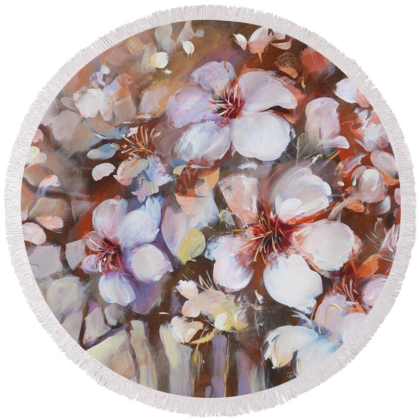 Outdoor Round Beach Towel featuring the painting Almonds Blossom 2 by Roman Ben