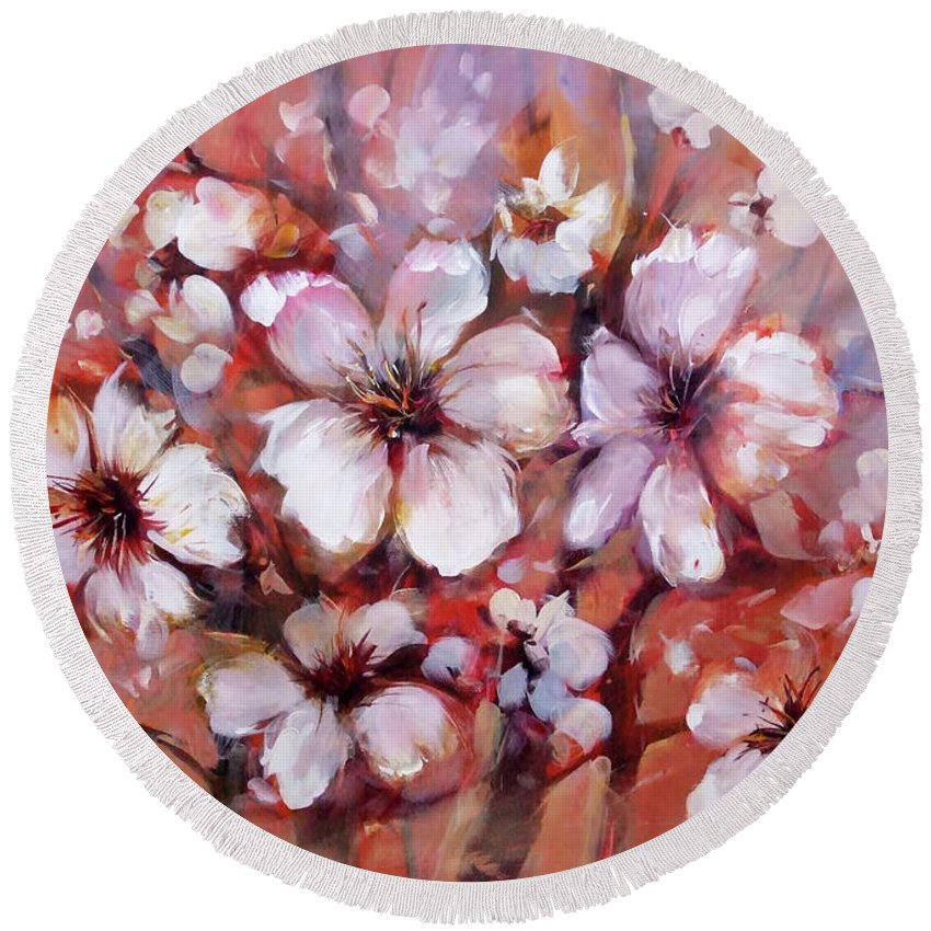 Outdoor Round Beach Towel featuring the painting Almonds Blossom 8 by Roman Ben