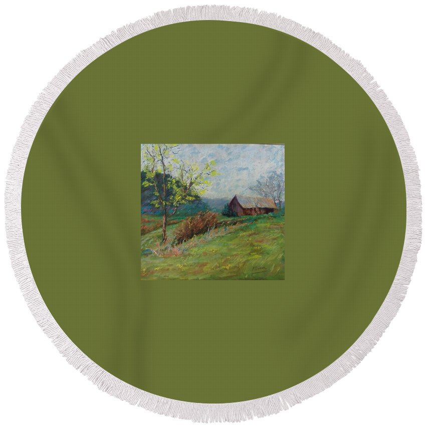 Landscape Round Beach Towel featuring the pastel Almost Spring by Pat Snook
