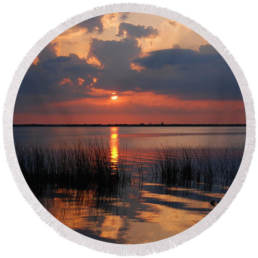 Sunset Round Beach Towel featuring the photograph Almost Sunset In Florida by Susanne Van Hulst