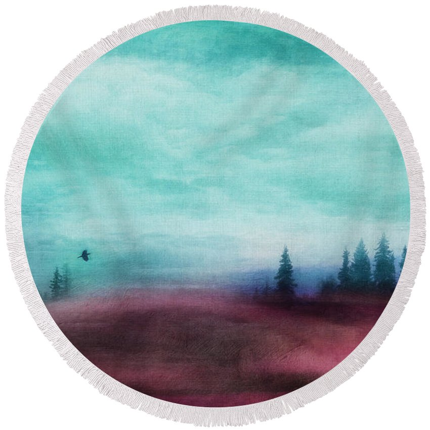 Red Round Beach Towel featuring the photograph Almost There by Priska Wettstein