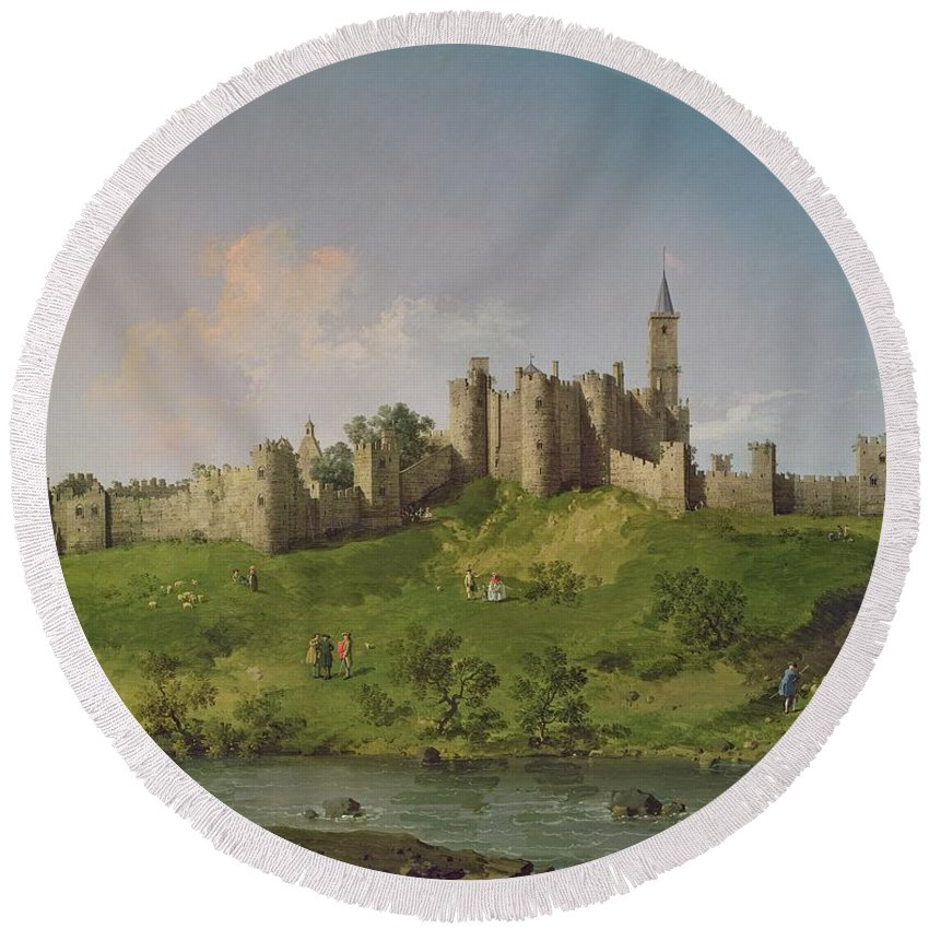 Alnwick Round Beach Towel featuring the painting Alnwick Castle by Canaletto