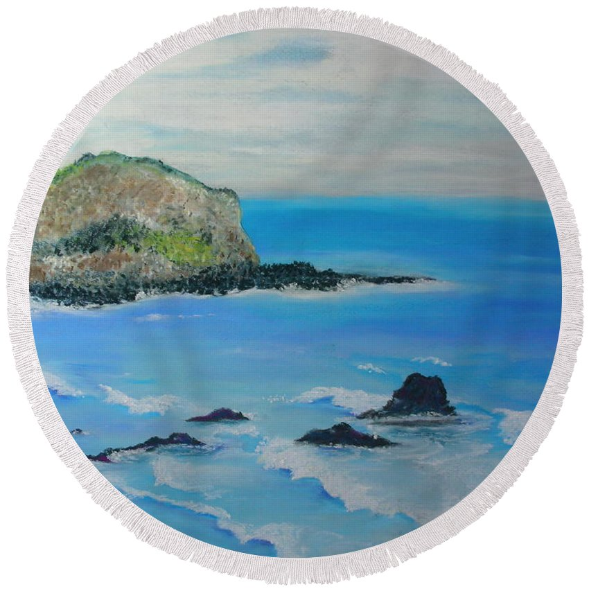 Hawaii Round Beach Towel featuring the painting Aloha by Melinda Etzold
