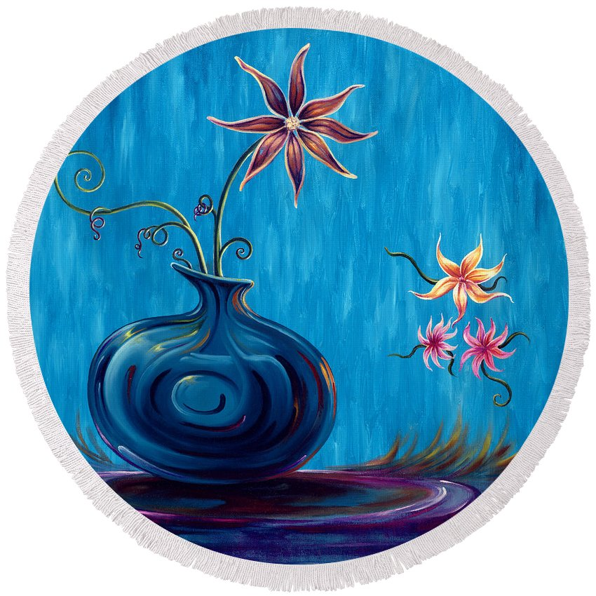 Fantasy Floral Scape Round Beach Towel featuring the painting Aloha Rain by Jennifer McDuffie