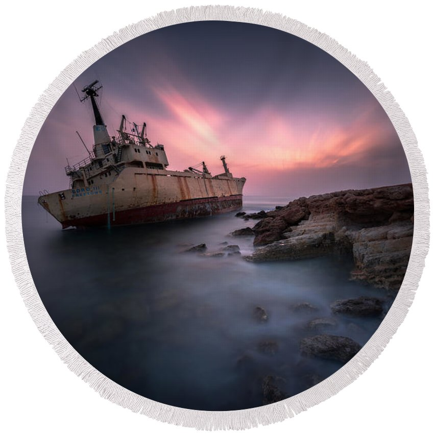 Shipwreck Round Beach Towel featuring the photograph Alone by Charalambos Charalambous