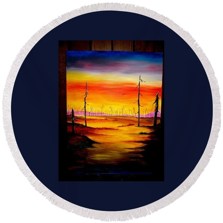 Landscape Round Beach Towel featuring the painting Alone by Glory Fraulein Wolfe