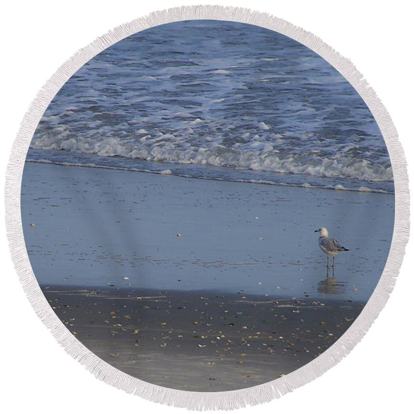 Ocean Round Beach Towel featuring the photograph Alone In The Sand by Teresa Mucha