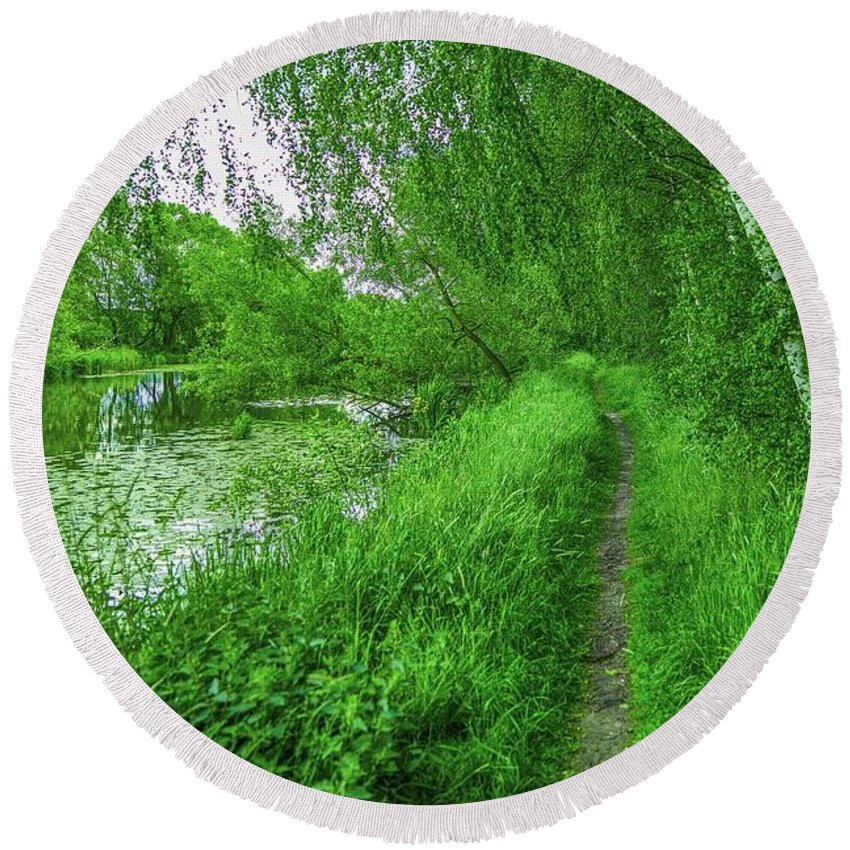 Creek Round Beach Towel featuring the photograph Along Creek #g1 by Leif Sohlman