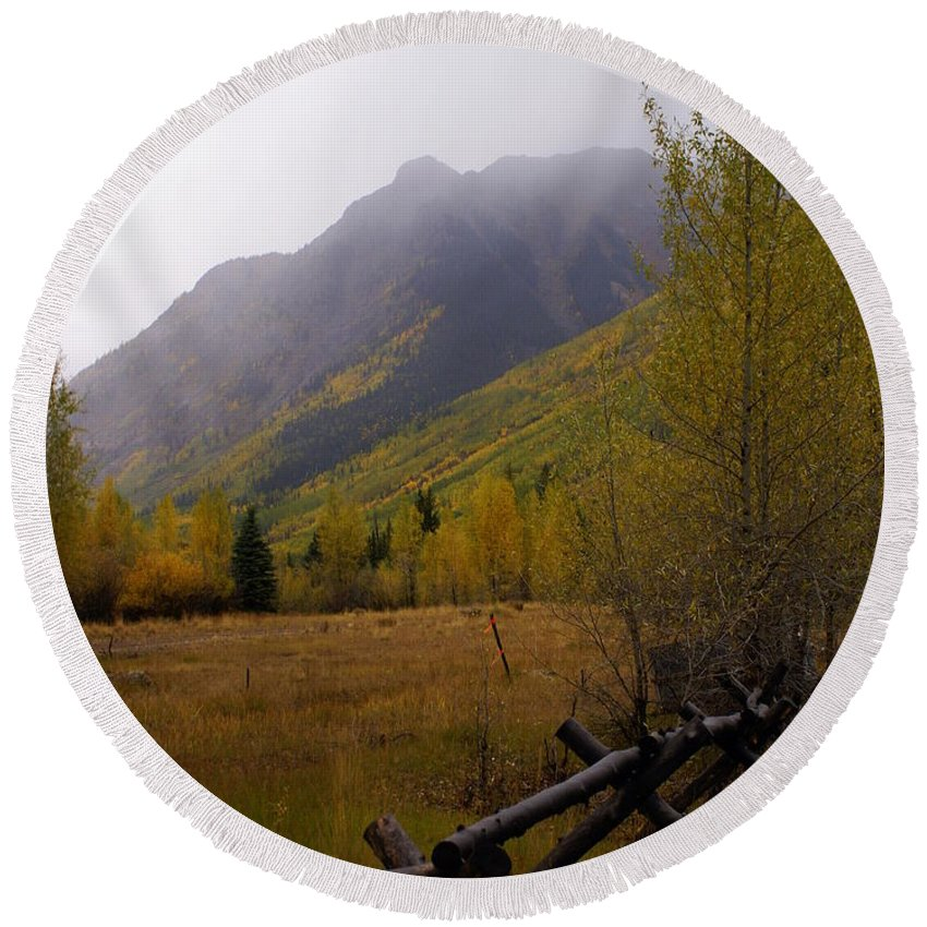 Colorado Round Beach Towel featuring the photograph Along The Alpine Loop by Marty Koch