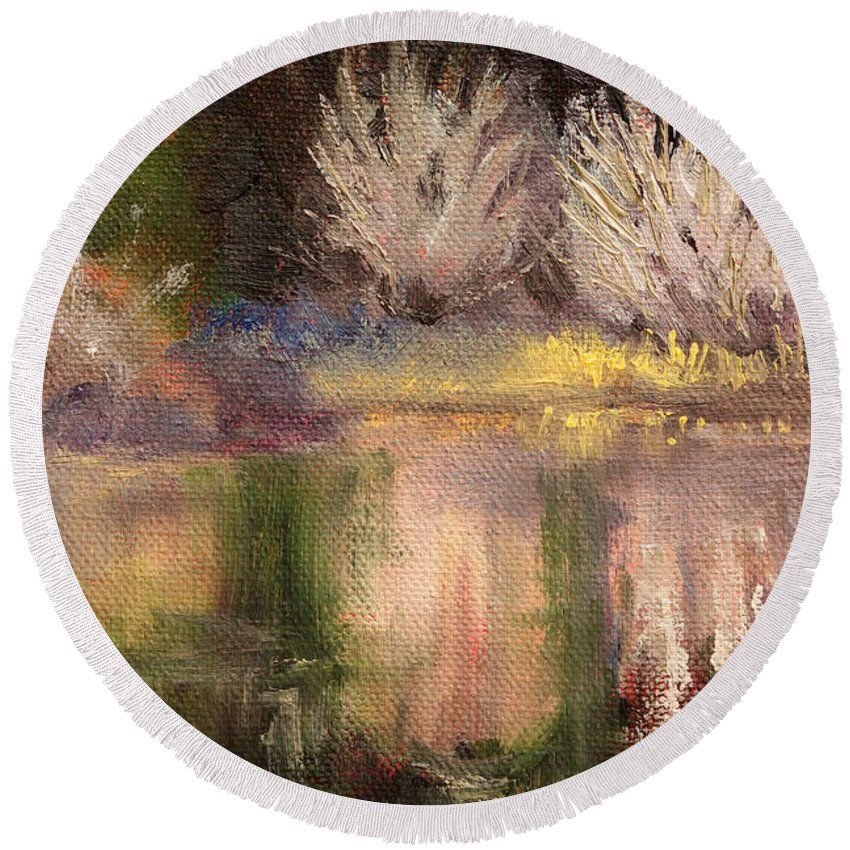 Oregon Landscape Round Beach Towel featuring the painting Along The Bank by Nancy Merkle