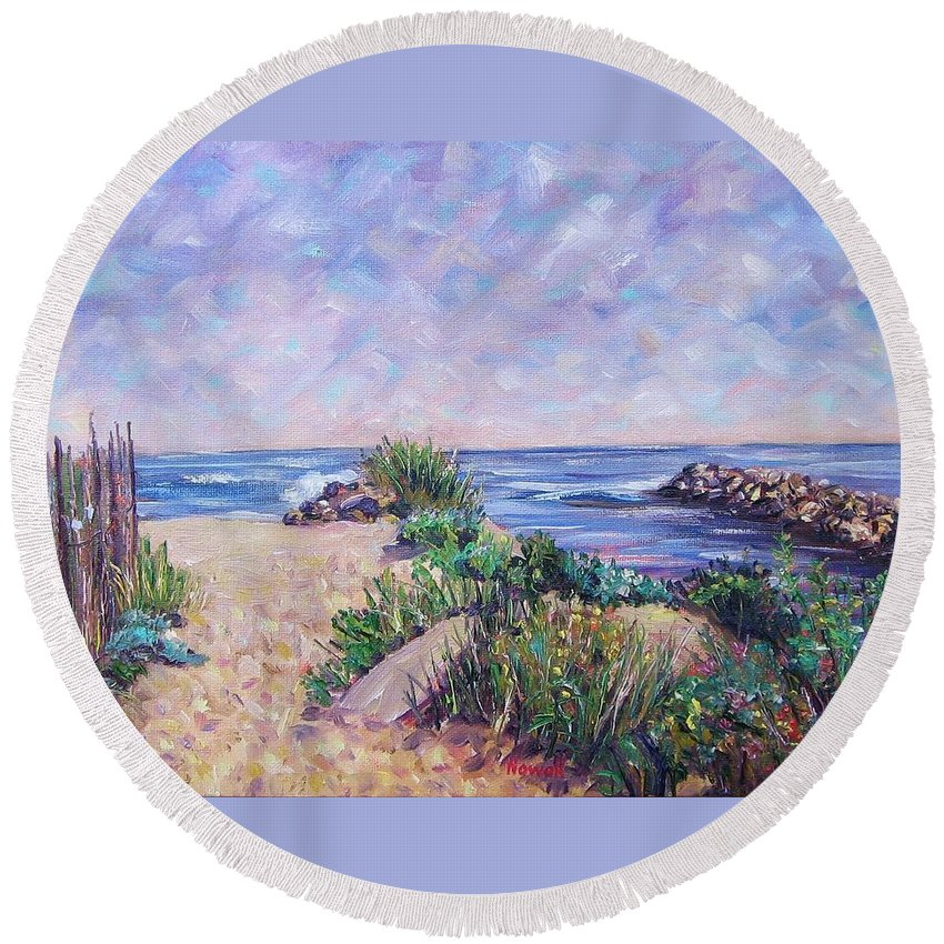 Shore Round Beach Towel featuring the painting Along The Breachway Rhode Island by Richard Nowak