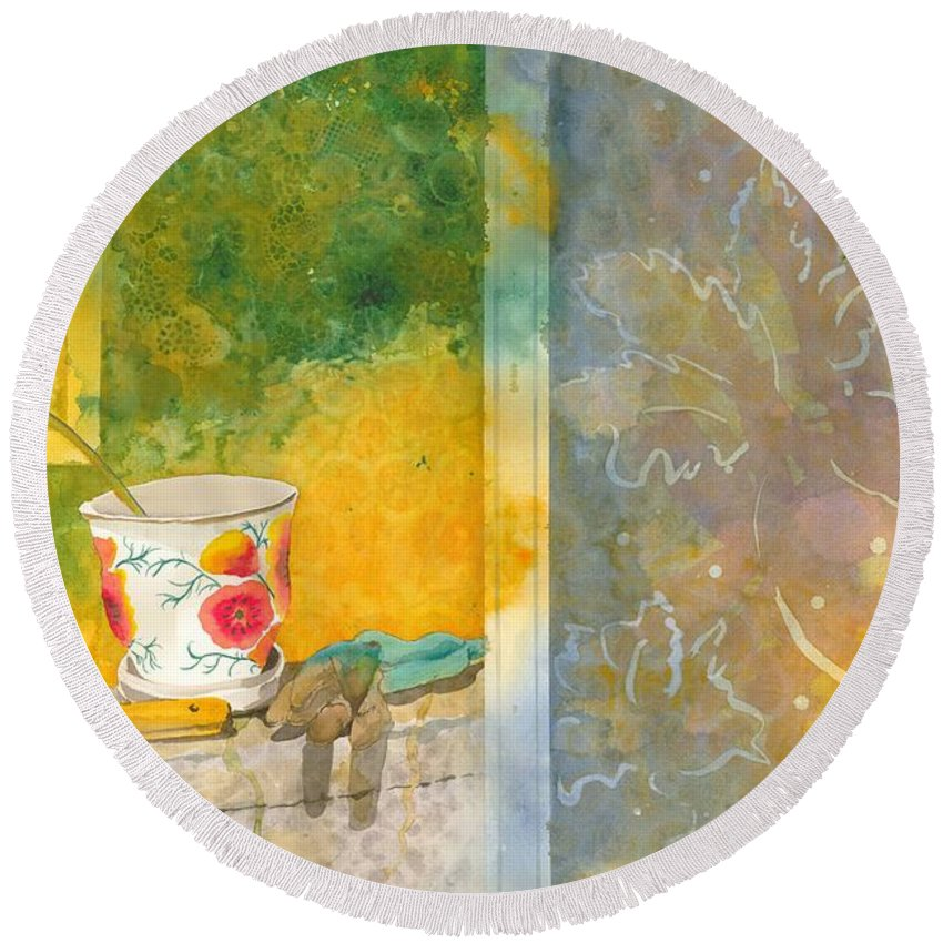Garden Round Beach Towel featuring the painting Along The Garden Wall by Jean Blackmer