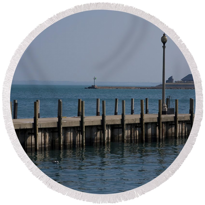 Chicago Windy City Lake Michigan Pier Water Sky Blue Round Beach Towel featuring the photograph Along The Lakeshore by Andrei Shliakhau