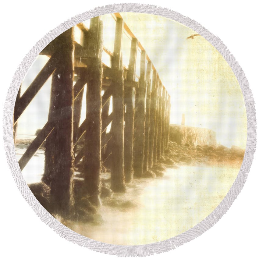 Landscape Round Beach Towel featuring the photograph Along The Pier by Hal Halli