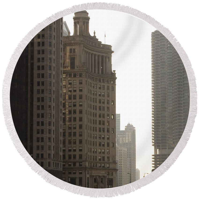 Chicago Windy City River Bridge Building Skyscraper Tall High Big Metro Urban Round Beach Towel featuring the photograph Along The River by Andrei Shliakhau