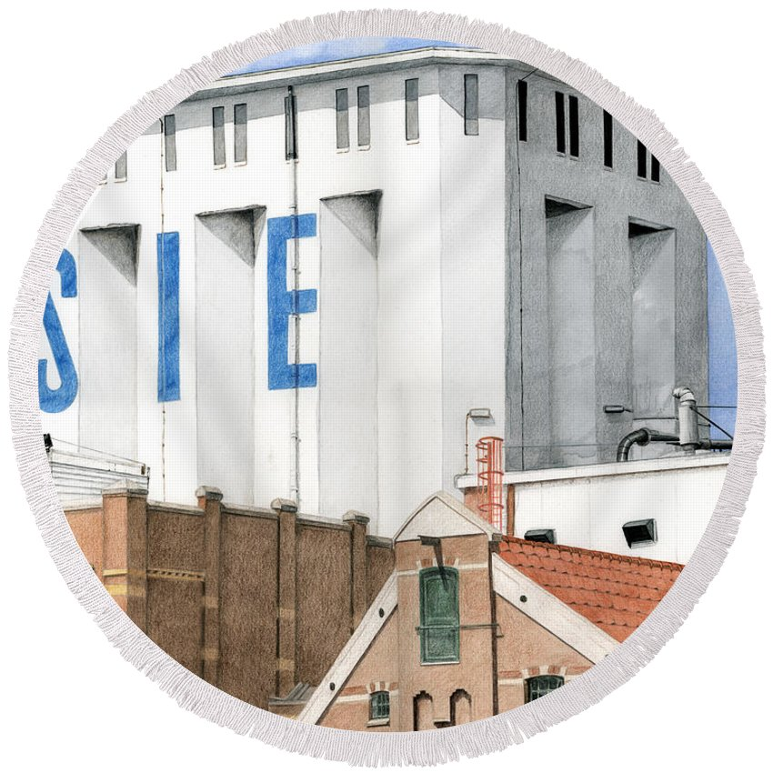 Mixed Media Round Beach Towel featuring the mixed media Along The River Zaan Lassie Silo by Rob De Vries