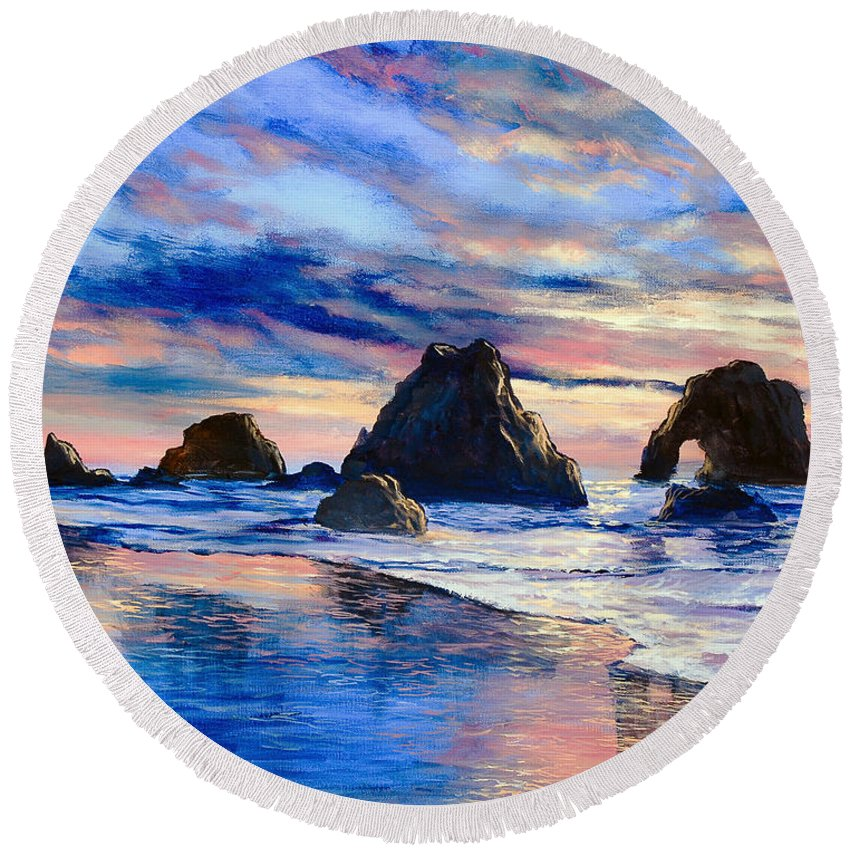 Seascape Round Beach Towel featuring the painting Along The Rocky Coast by Marco Antonio Aguilar