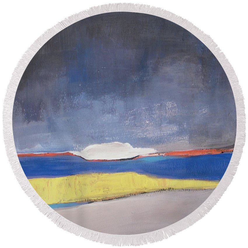 Abstract Landscape Round Beach Towel featuring the painting Along The Shoreline by Vesna Antic