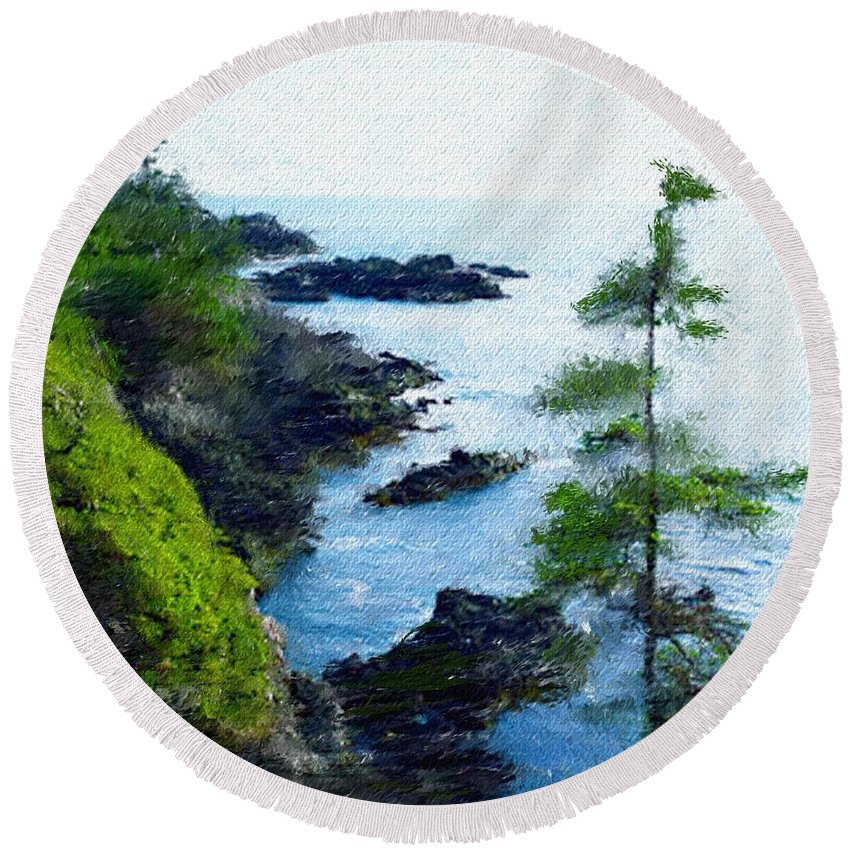 Digital Photograph Round Beach Towel featuring the photograph Along The West Coast 1 by David Lane