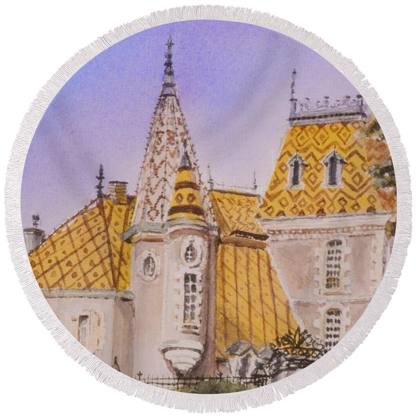 Vineyard Round Beach Towel featuring the painting Aloxe Corton Chateau Jaune by Mary Ellen Mueller Legault
