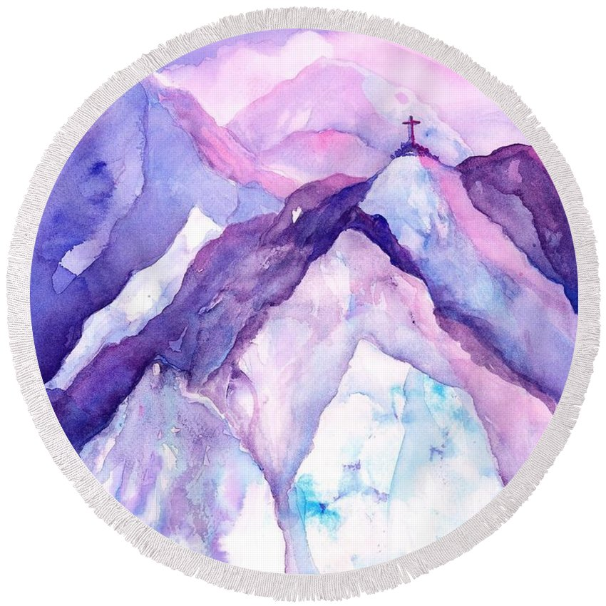 Mountains Watercolor Round Beach Towel featuring the painting Alpenglow In The Alps by Sabina Von Arx