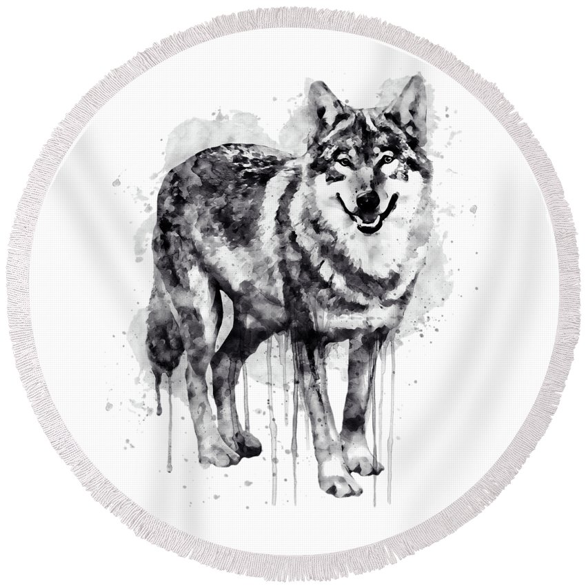 Alpha Wolf Round Beach Towel featuring the painting Alpha Wolf Black And White by Marian Voicu