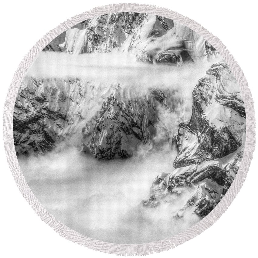 Switzerland Round Beach Towel featuring the photograph Alpine Clouds by Stephen Settles