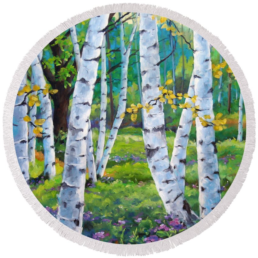 Birche; Birches; Tree; Trees; Nature; Landscape; Landscapes Scenic; Richard T. Pranke; Canadian Artist Painter Round Beach Towel featuring the painting Alpine Flowers And Birches by Richard T Pranke
