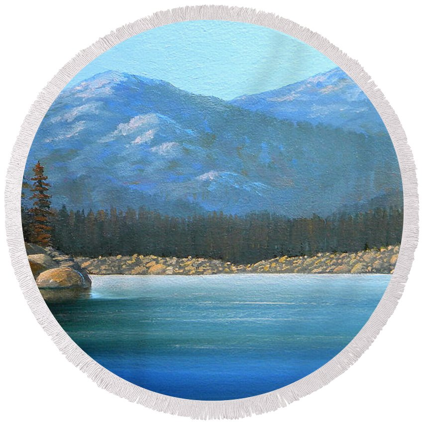Landscape Round Beach Towel featuring the painting Alpine Lake by Frank Wilson