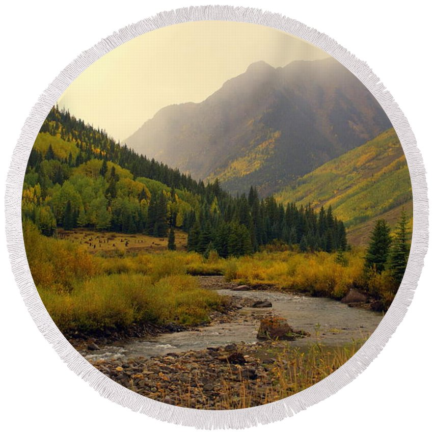 Colorado Round Beach Towel featuring the photograph Alpine Loop Fall by Marty Koch