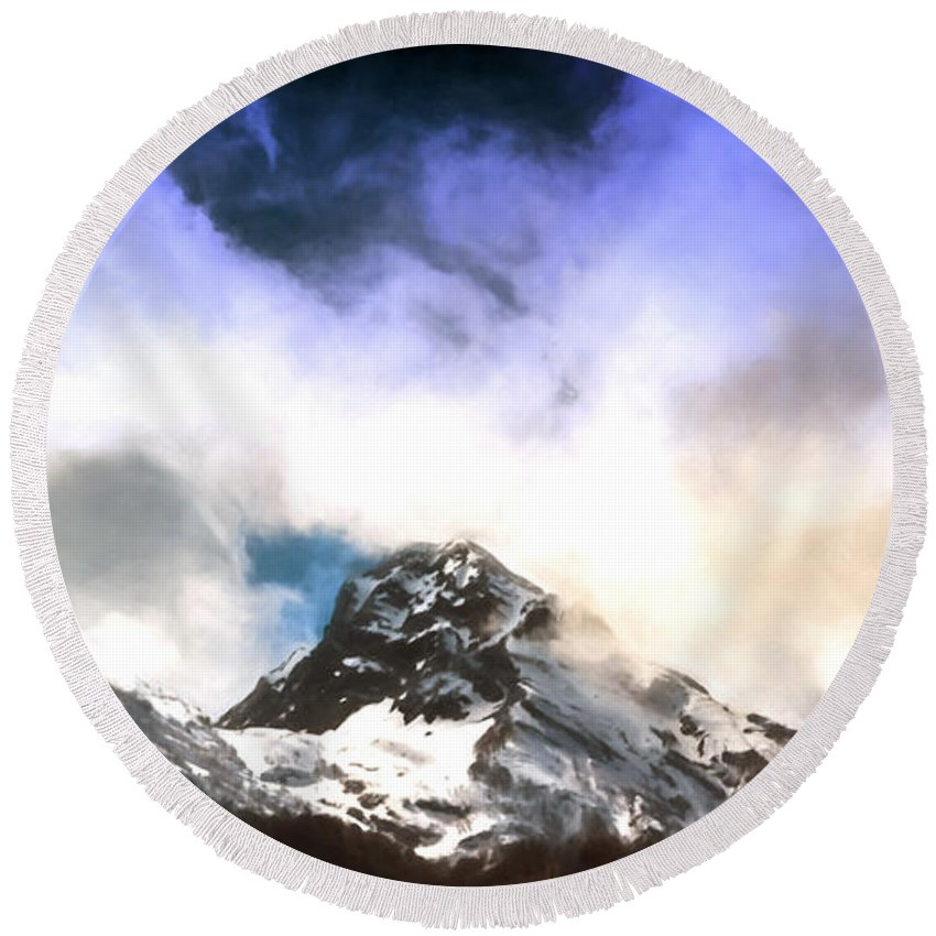 John D Williams Round Beach Towel featuring the photograph Alpine Mountains And Clouds Watercolour by John Williams