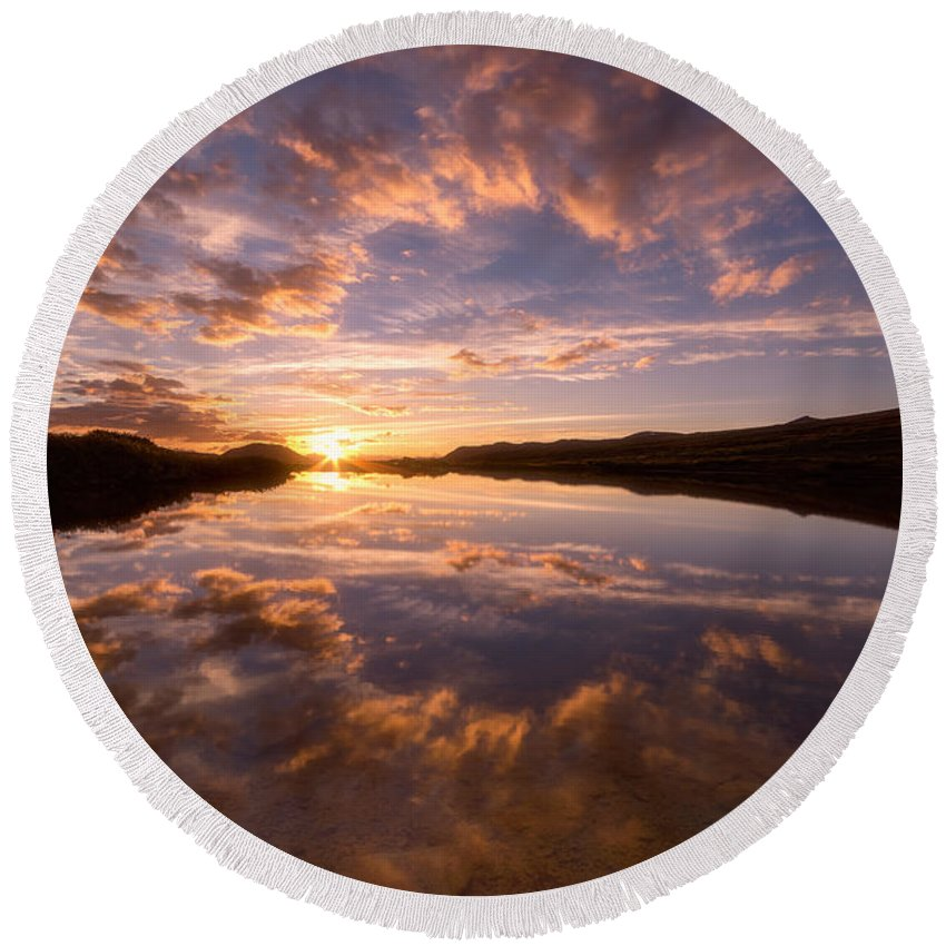 Sunset Round Beach Towel featuring the photograph Alpine Sunset by Darren White