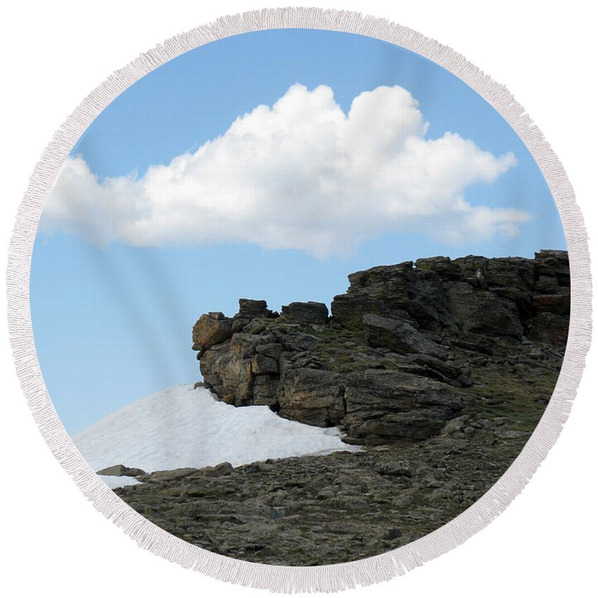 Rocky Mountains Round Beach Towel featuring the photograph Alpine Tundra - Up In The Clouds by Amanda Barcon