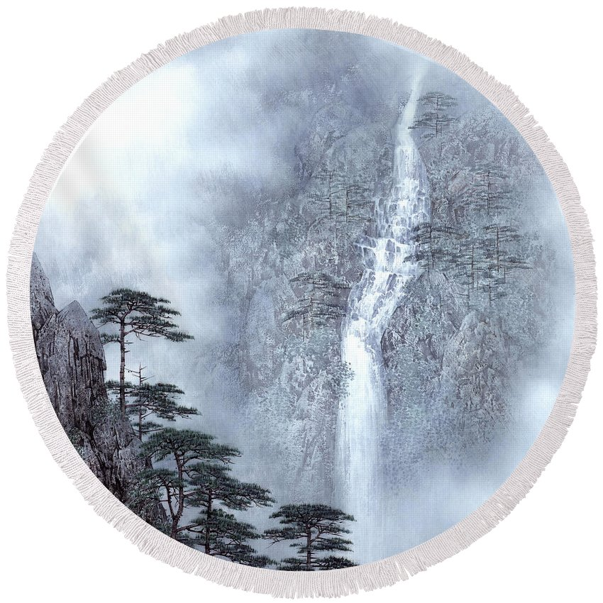 Alpine Waterfall Round Beach Towel featuring the painting Alpine Waterfall by Song Di