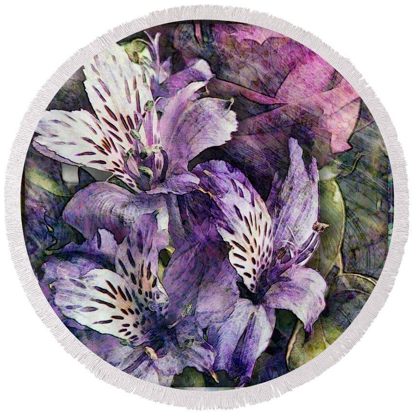Flowers Round Beach Towel featuring the digital art Alstroemeria by Barbara Berney