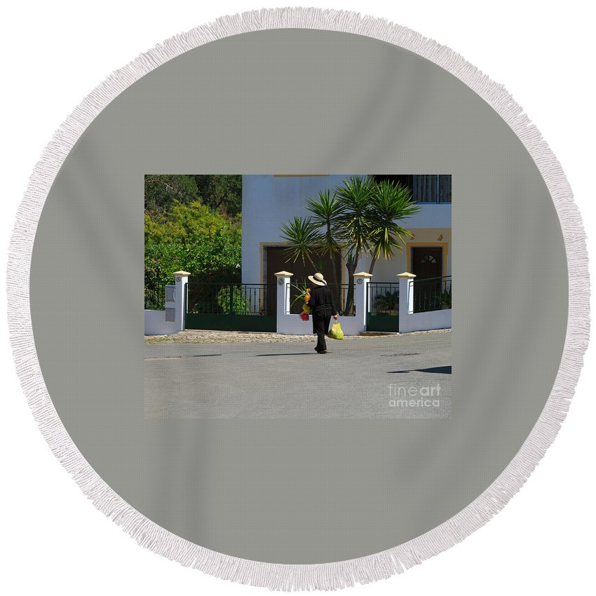 Woman Round Beach Towel featuring the photograph Alte Portugal by Louise Heusinkveld