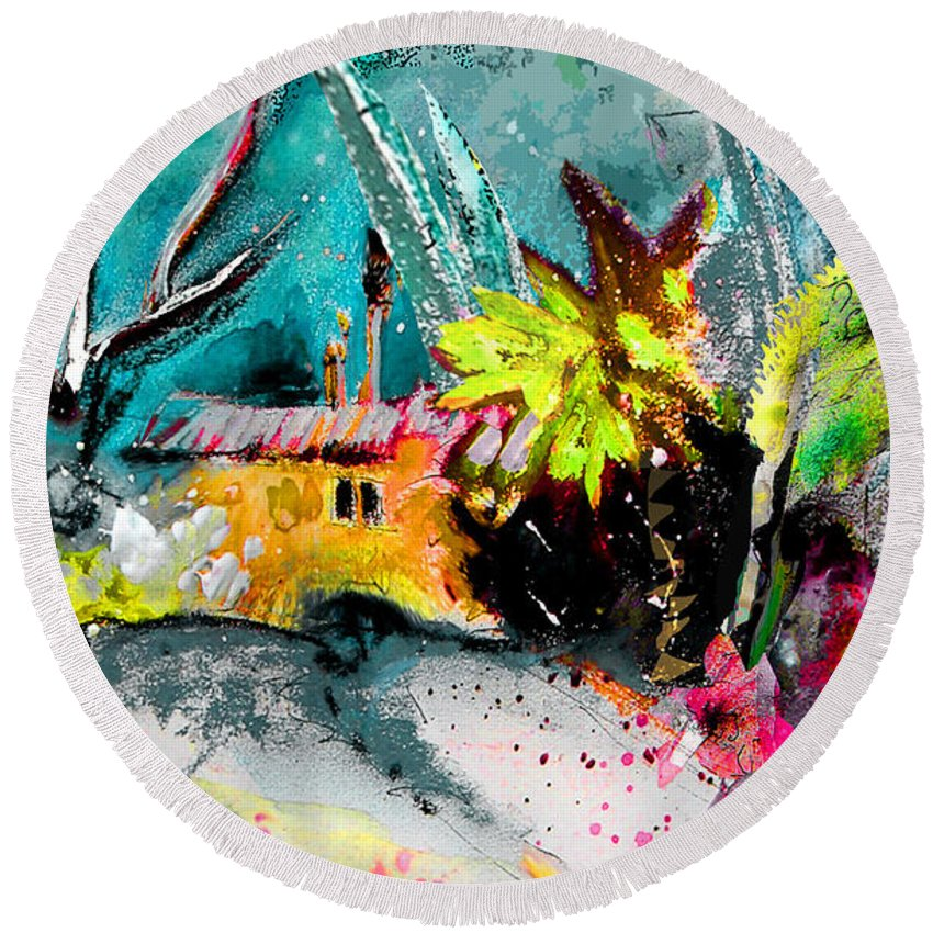 Altea La Vieja Painting Round Beach Towel featuring the painting Altea La Vieja 03 by Miki De Goodaboom