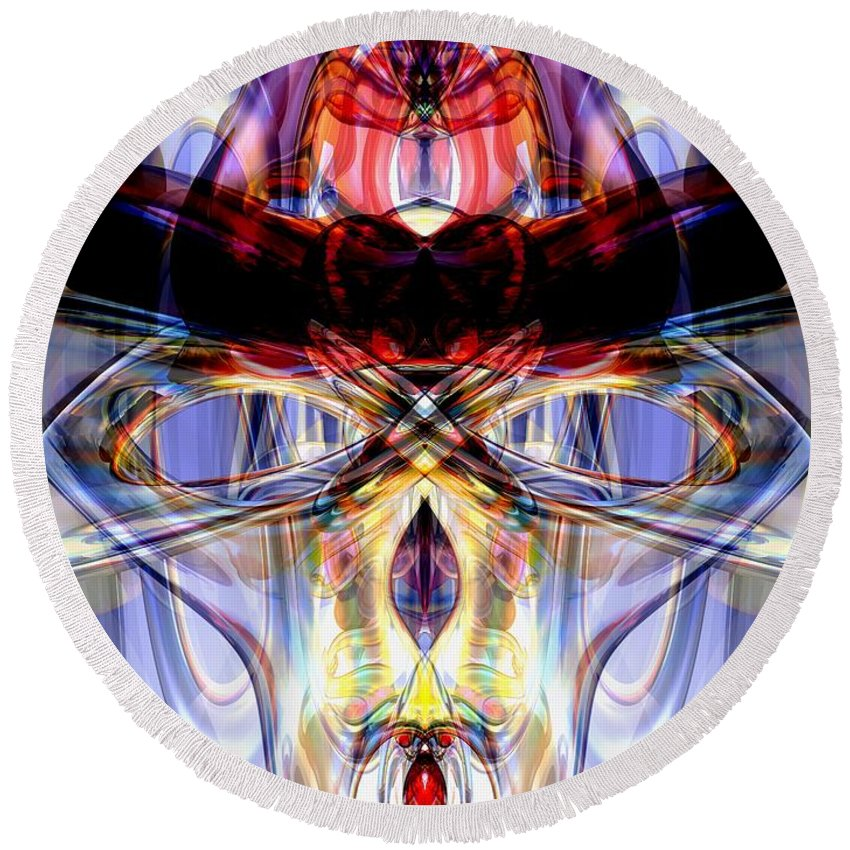 3d Round Beach Towel featuring the digital art Altered States Abstract by Alexander Butler