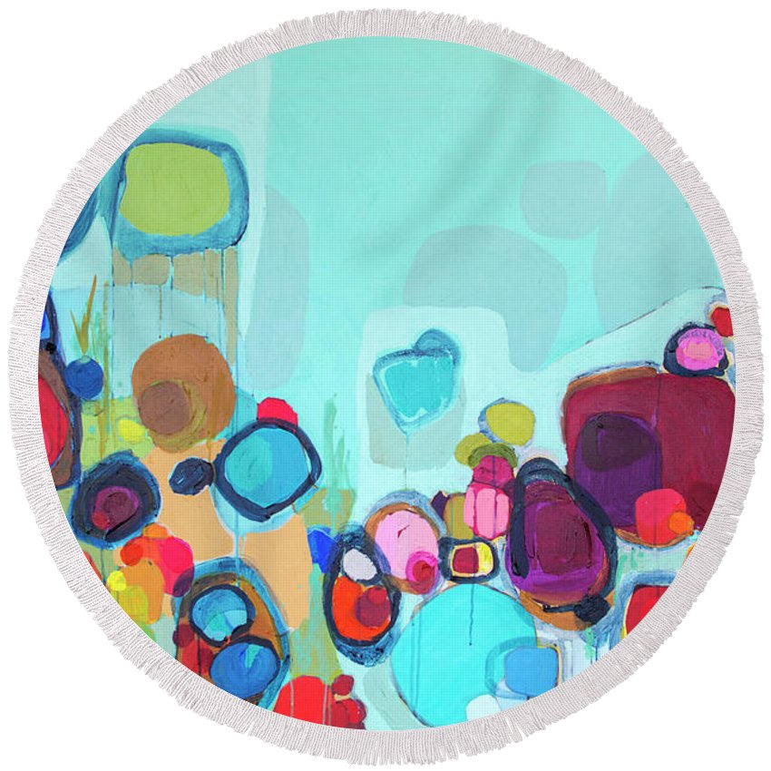 Abstract Round Beach Towel featuring the painting Always Will Be by Claire Desjardins