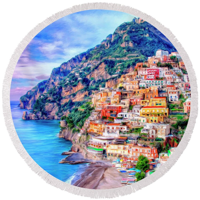 Positano Round Beach Towel featuring the painting Amalfi Coast At Positano by Dominic Piperata