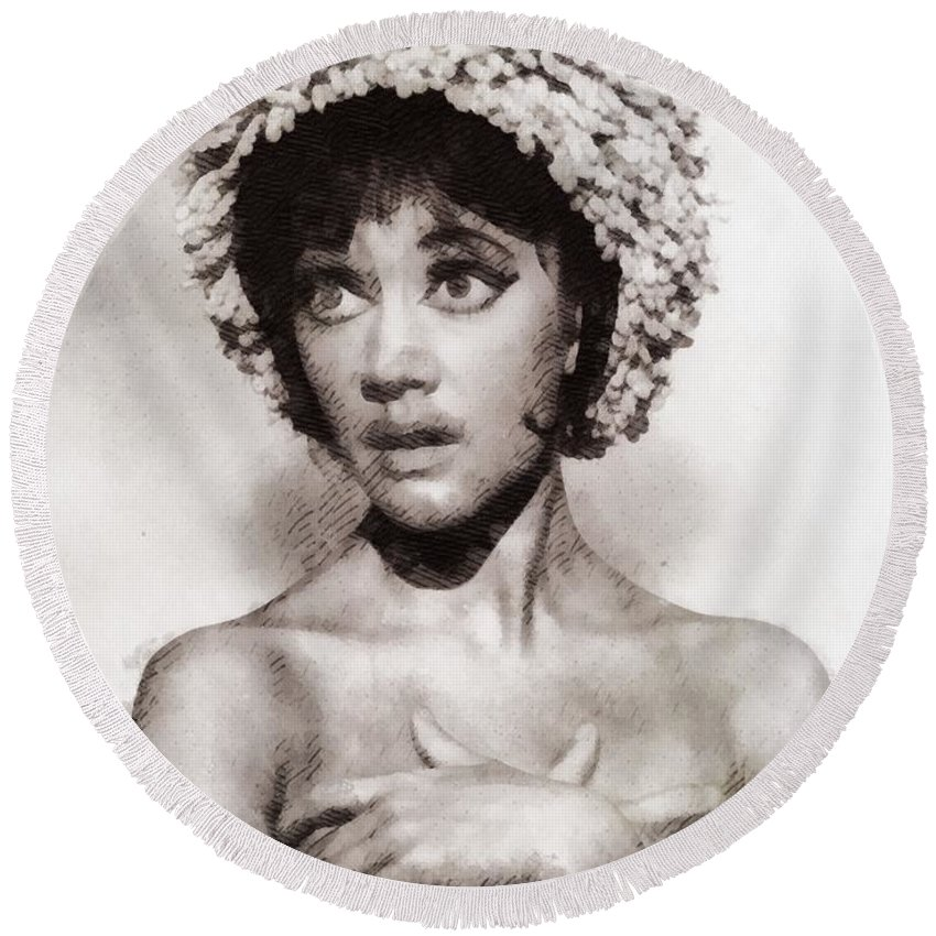 Amanda Round Beach Towel featuring the painting Amanda Barrie, Carry On Actress by John Springfield